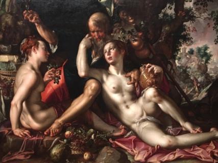 Verleiding van Lot door zijn dochters tijdens Sodom en Gomorra